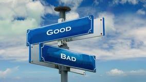 Street Sign to Good versus Bad