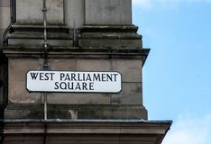 Street sign West Parliment Square in Edinburgh Scotland stock images