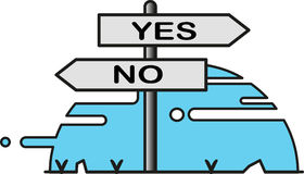 Street sign for yes and no directions Royalty Free Stock Photography