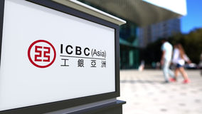 Street signage board with Industrial and Commercial Bank of China ICBC logo Stock Photos