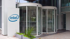 Street signage board with Intel Corporation logo. Modern office building. Editorial 3D rendering Royalty Free Stock Image