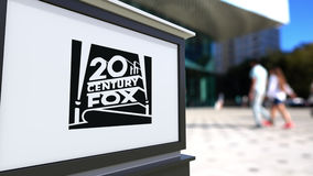 Street signage board with Twentieth Century Fox Film Corporation logo. United States Royalty Free Stock Image