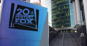 Street signage board with Twentieth Century Fox Film Corporation logo. United States Royalty Free Stock Photos