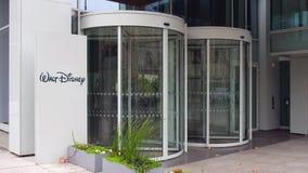 Street signage board with Walt Disney logo. Modern office building. Editorial 4K 3D rendering. Street signage board with Walt Disney Pictures logo. Modern office stock video