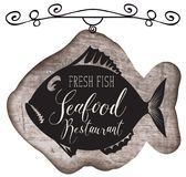 Street signboard for seafood restaurant with fish. Vector street signboard or banner for seafood restaurant with a picture of fish and handwritten inscription on Stock Photo