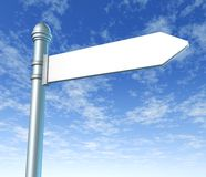 Street signpost blank. Signpost for street with single blank panel on blue sky background royalty free illustration