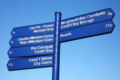 Street signpost, Cardiff Royalty Free Stock Photos