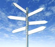 Street signpost multiple blank Royalty Free Stock Images