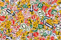 Street Signs. Photo of Various Street / Road Signs - Street Sign Background stock photo