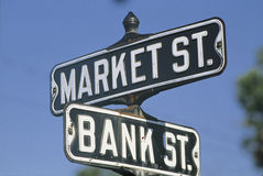 Street signs. These are street signs that say Market Street and Bank Street royalty free stock image