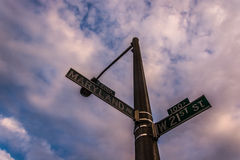 Street signs in Baltimore, Maryland. Royalty Free Stock Images