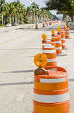 Street signs and barricades. At a public construction site Royalty Free Stock Photography