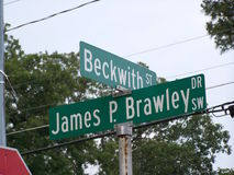 Street Signs Beckwith and Brawley Stock Image