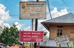 Street signs of Buntu Pune village in Tana Toraja. Indonesia. Rantepao, Indonesia - Dec 07, 2015: Street signs of Buntu Pune village in Tana Toraja, Sulawesi Stock Image