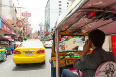 Street signs and cars ride in chinatown, Bangkok Thailand Stock Image