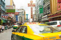 Street signs and cars ride in chinatown, Bangkok Thailand Royalty Free Stock Photography