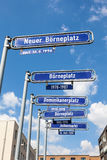 Street signs in the city of Frankfurt Main Royalty Free Stock Images