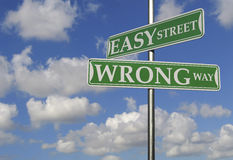 Street Signs With Easy Street and Wrong Way. Motivational Concept stock image