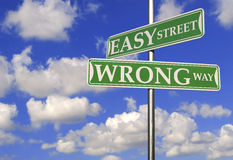 Street Signs With Easy Street and Wrong Way. Motivational Concept royalty free stock photo