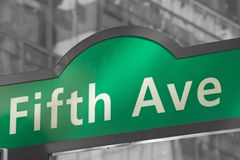 Street signs for Fifth Avenue in NYC. Street signs for Fifth Avenue in Manhattan (New York City). Color Splash Efect Picture Stock Image