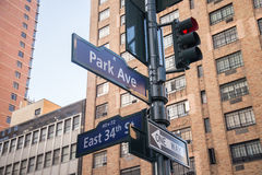 Street signs in Manhattan Royalty Free Stock Photography