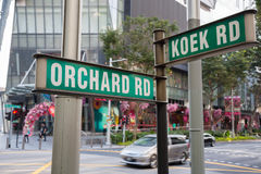 Street signs Orchard Road and Koek Road in Singapore Stock Image