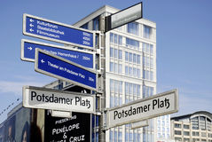 Street signs of Potsdamer Platz in Berlin Royalty Free Stock Photography