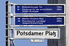 Street signs of Potsdamer Platz in Berlin Royalty Free Stock Images