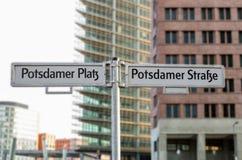 Street signs on Potsdamer Platz in Berlin Royalty Free Stock Photography