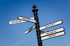 Street Signs with Question Words on Them Royalty Free Stock Image