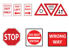 Street signs in red. A set of assorted street signs in red vector illustration