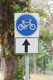 Street signs in road for bicycle. Royalty Free Stock Photos