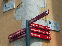 Street Signs and Sign Post, Figueres, Spain Stock Photos