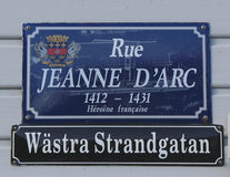 Street signs in St. Barths posted in Swedish along with their French name Royalty Free Stock Image