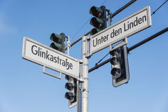 Street signs and traffic lights in Berlin. Stock Photo