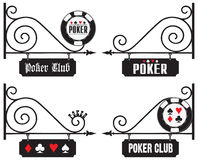 Street signs at the venue of poker events Stock Photos