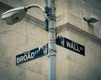 Street signs of Wall street and Broad street Stock Photo