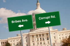 Street signs in Washington D.C. With the capital building in the back Stock Images