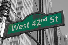 Street signs for West 42nd street in NYC Stock Photos