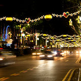 Street of Singapore with Christmas lights and decorations Royalty Free Stock Photos