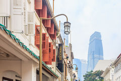 Street in Singapore in smog Stock Photos
