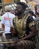 Street singer from NYC. Singing dance beats infront off central park royalty free stock photos