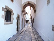 Street from Sitges. Street that ends in the Corner of the Calmness, Sitges. Barcelona Royalty Free Stock Photos