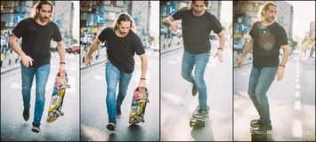 Street skateboarding jump and trick sequence. Free ride school s Royalty Free Stock Photography