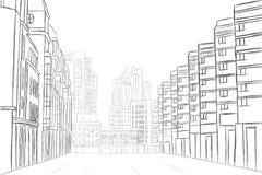 Street sketch vector illustration