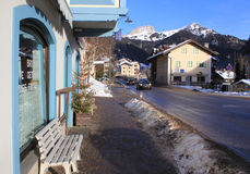 Street of ski resort Kampitello in Italy Royalty Free Stock Image