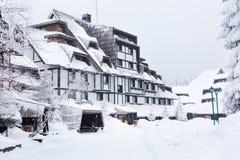Street of ski resort Kopaonik, Serbia after snow Royalty Free Stock Photography