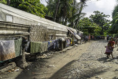 Street in slums. Of Mandalay City in Myanmar (Burma Stock Image