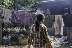 Street in slums. Of Mandalay City in Myanmar (Burma Royalty Free Stock Photography