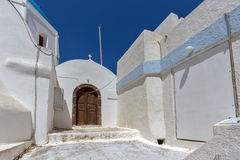 Street and small church In the castle of Pyrgos Kallistis, Santorini island, Thira, Greece Royalty Free Stock Photography
